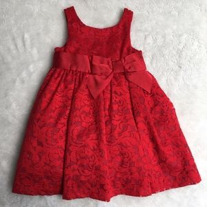 Janie and Jack Girls Red Open Flare Dress 18-24 M